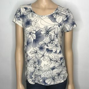 GAP Luxe Short Sleeve Floral Top Blue and White